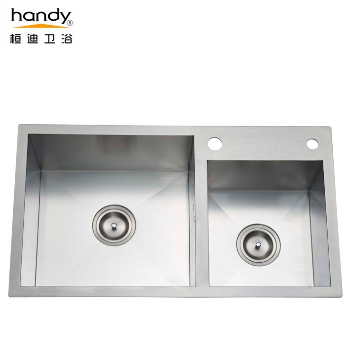 桓迪台上盆手工水槽双槽 HD-7843H